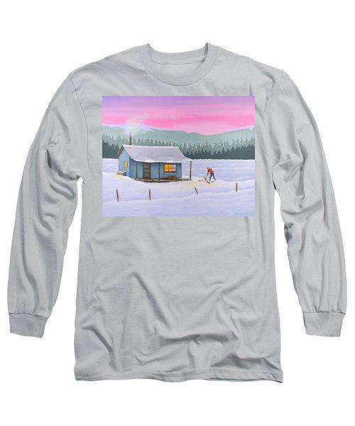 Cabin On A Frozen Lake Long Sleeve T-Shirt