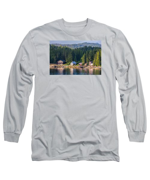 Cabins On The Water Long Sleeve T-Shirt by Lewis Mann