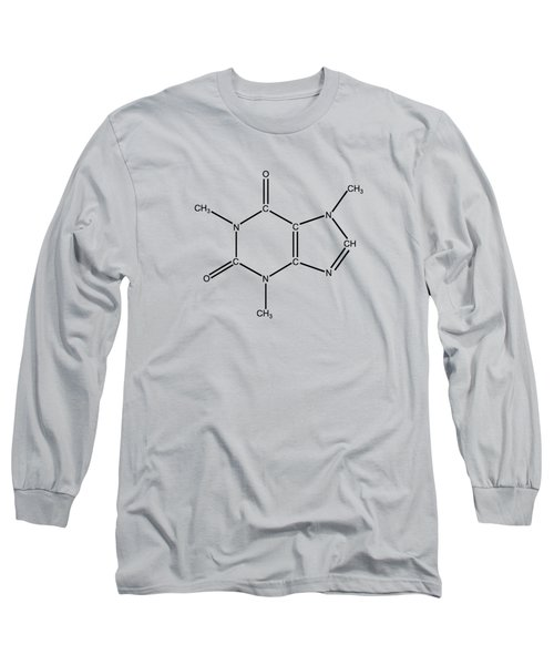 Long Sleeve T-Shirt featuring the drawing Caffeine Molecular Structure Vintage by Nikki Marie Smith