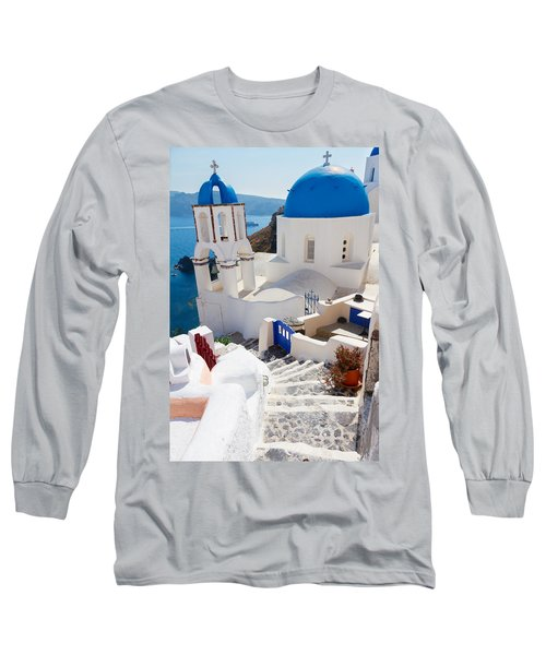 Caldera With Stairs And Church At Santorini Long Sleeve T-Shirt by Anastasy Yarmolovich
