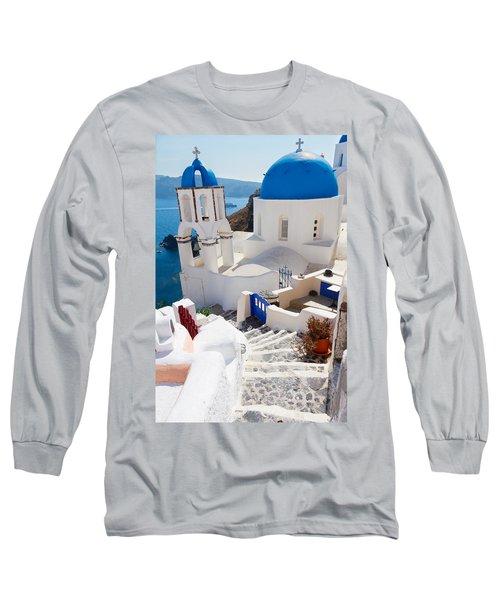 Caldera With Stairs And Church At Santorini Long Sleeve T-Shirt