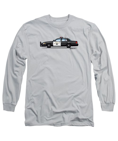 California Highway Patrol Ford Crown Victoria Police Interceptor Long Sleeve T-Shirt by Monkey Crisis On Mars