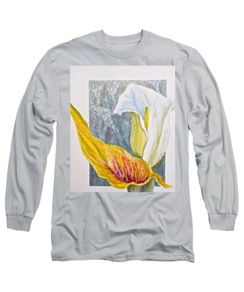 Long Sleeve T-Shirt featuring the painting Calla Lily by Carolyn Rosenberger