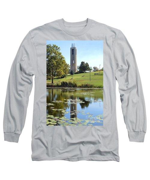 Campanile Reflection In Kansas Long Sleeve T-Shirt by Catherine Sherman