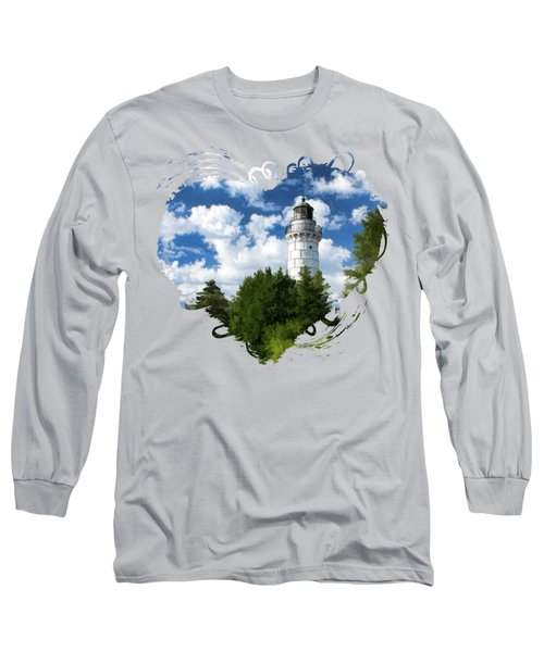 Long Sleeve T-Shirt featuring the painting Cana Island Lighthouse Cloudscape In Door County by Christopher Arndt