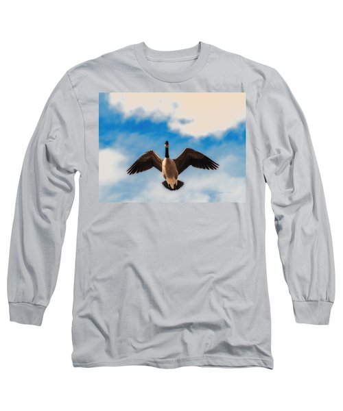 Canada Geese In Spring Long Sleeve T-Shirt by Edward Peterson