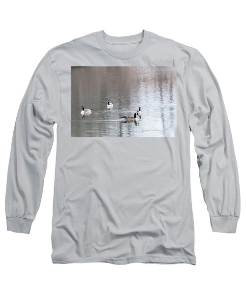 Canada Geese Swing Long Sleeve T-Shirt by Edward Peterson