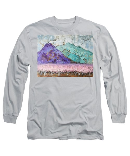 Canigou With Blooming Peach Trees Long Sleeve T-Shirt