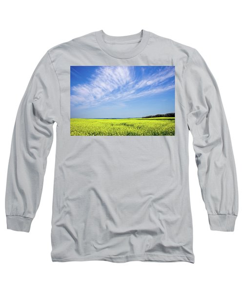 Canola Blue Long Sleeve T-Shirt by Keith Armstrong