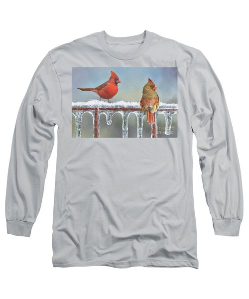 Cardinals And Icicles Long Sleeve T-Shirt by Janette Boyd