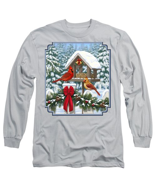 Cardinals Christmas Feast Long Sleeve T-Shirt by Crista Forest