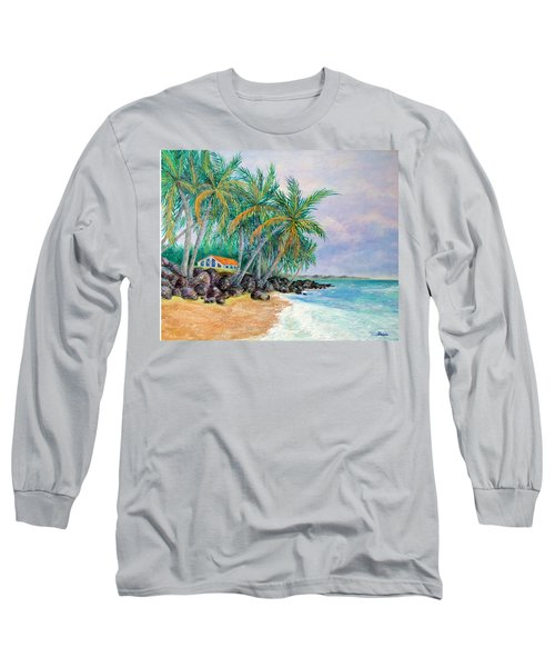 Long Sleeve T-Shirt featuring the painting Caribbean Retreat by Susan DeLain