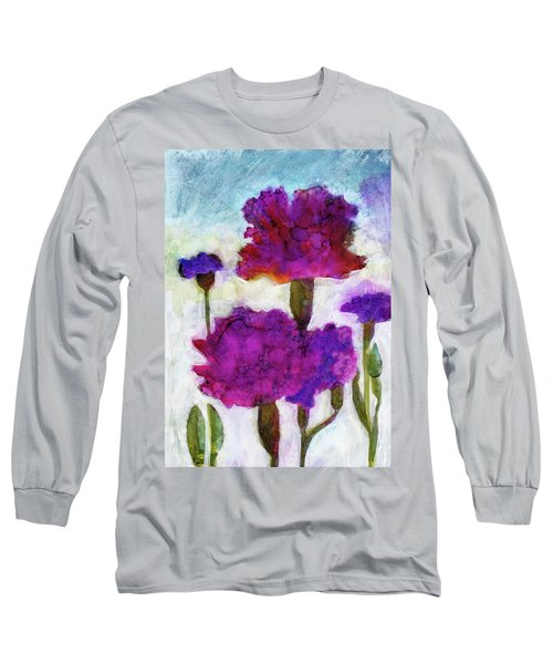 Long Sleeve T-Shirt featuring the painting Carnations by Julie Maas