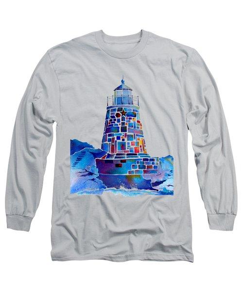Castle Hill Newport Lighthouse Long Sleeve T-Shirt by Jo Lynch