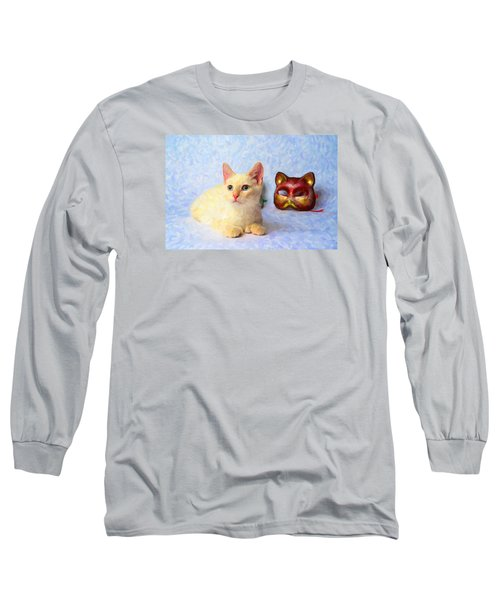 Cat Mask Long Sleeve T-Shirt by Andre Faubert