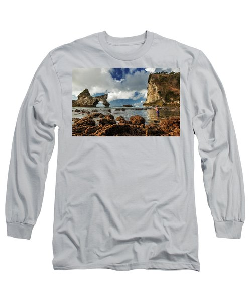 catching fish in Atuh beach Long Sleeve T-Shirt