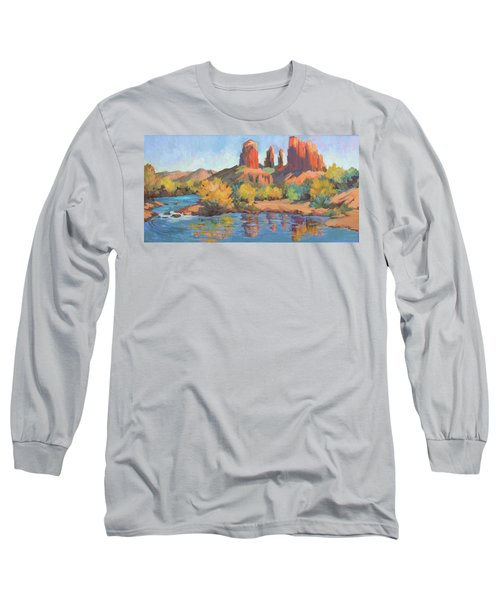 Moonrise Cathedral Rock Sedona Long Sleeve T-Shirt