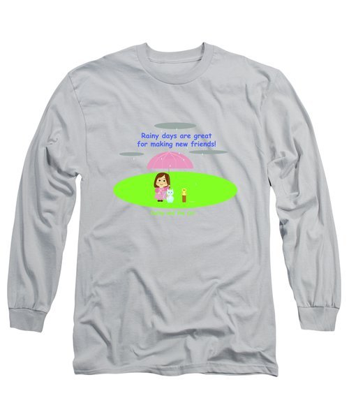 Cathy And The Cat Rainy Days And Friends Long Sleeve T-Shirt