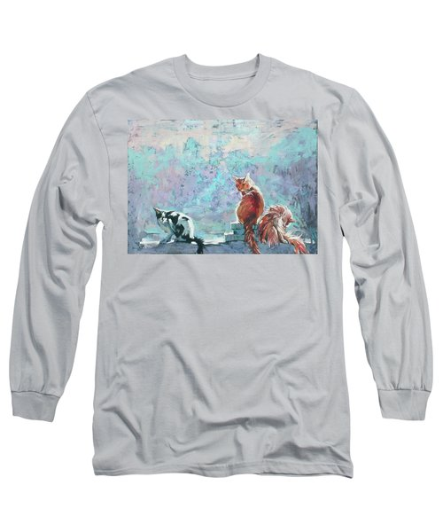 Long Sleeve T-Shirt featuring the painting Cats. Washed By Rain by Anastasija Kraineva