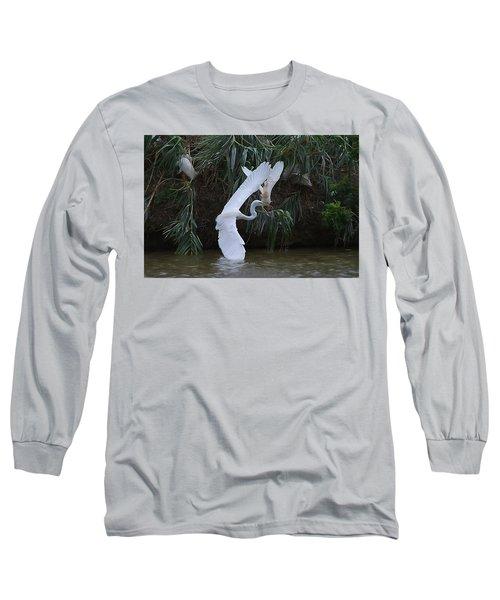 Cattle Egret Harassing An Adult Egret - Digitalart Long Sleeve T-Shirt