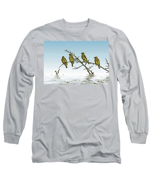 Cedar Waxwings On A Branch Long Sleeve T-Shirt by Geraldine Scull