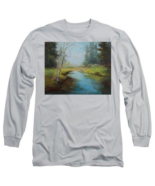 Cerulean Blue Stream Long Sleeve T-Shirt