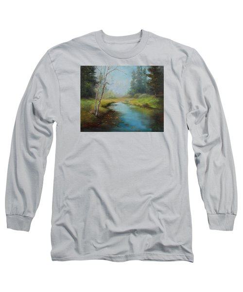 Cerulean Blue Stream Long Sleeve T-Shirt