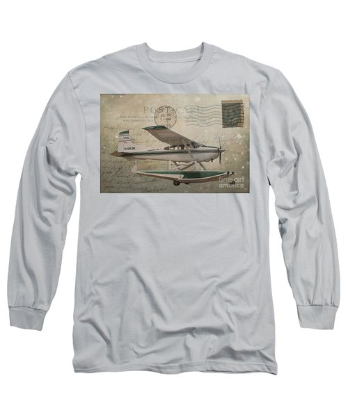 Cessna Skywagon 185 On Vintage Postcard Long Sleeve T-Shirt