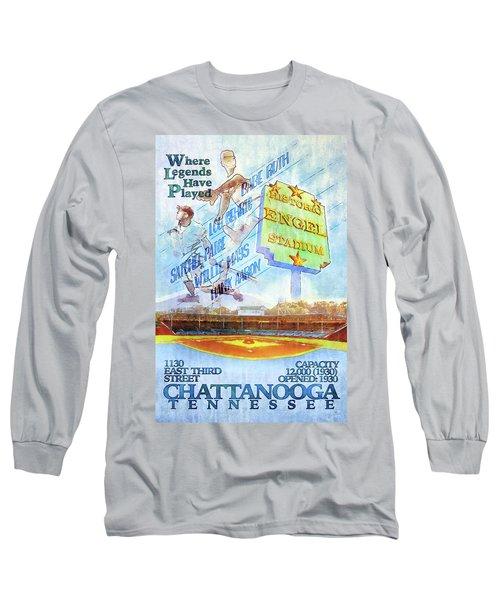 Chattanooga Historic Baseball Poster Long Sleeve T-Shirt by Steven Llorca
