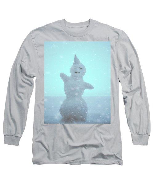Long Sleeve T-Shirt featuring the photograph Cheerful Snowman by Ari Salmela