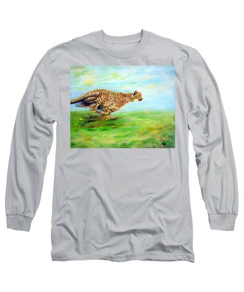 Cheetah At Speed Long Sleeve T-Shirt