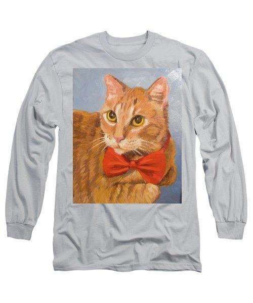 Cheetoh Cat Portrait Long Sleeve T-Shirt by Alice Leggett