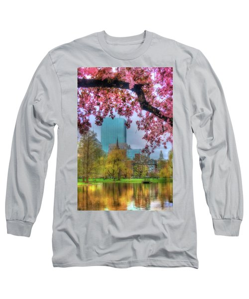 Long Sleeve T-Shirt featuring the photograph Cherry Blossoms Over Boston by Joann Vitali