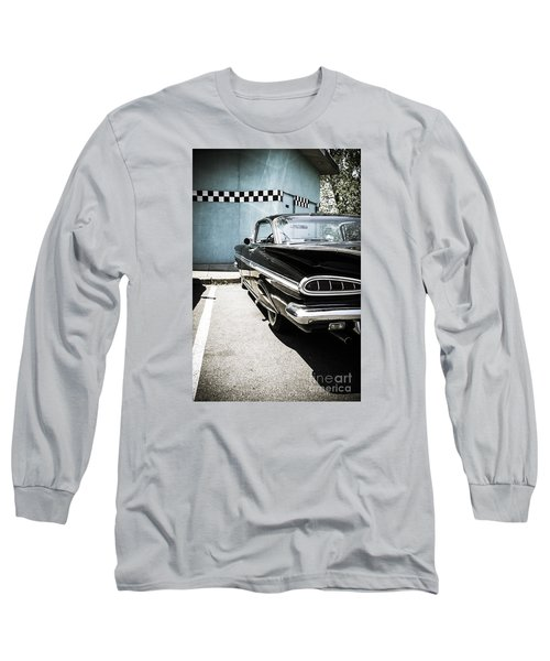 Chevrolet Impala In Front Of American Diner Long Sleeve T-Shirt by Perry Van Munster