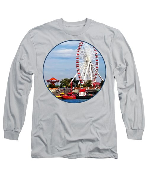 Chicago Il - Ferris Wheel At Navy Pier Long Sleeve T-Shirt by Susan Savad