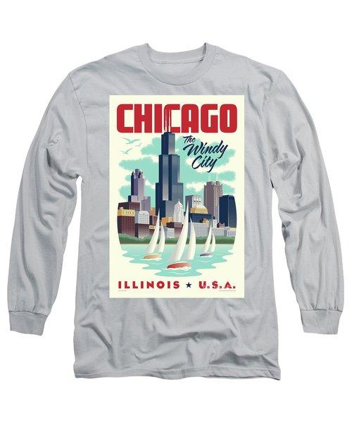 Chicago Retro Travel Poster Long Sleeve T-Shirt by Jim Zahniser
