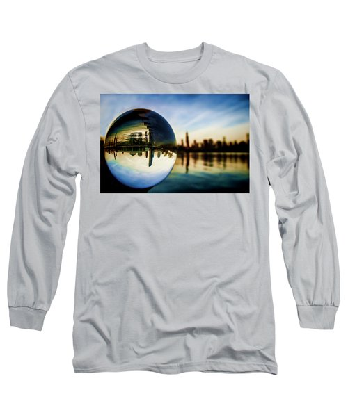 Chicago Skyline Though A Glass Ball Long Sleeve T-Shirt