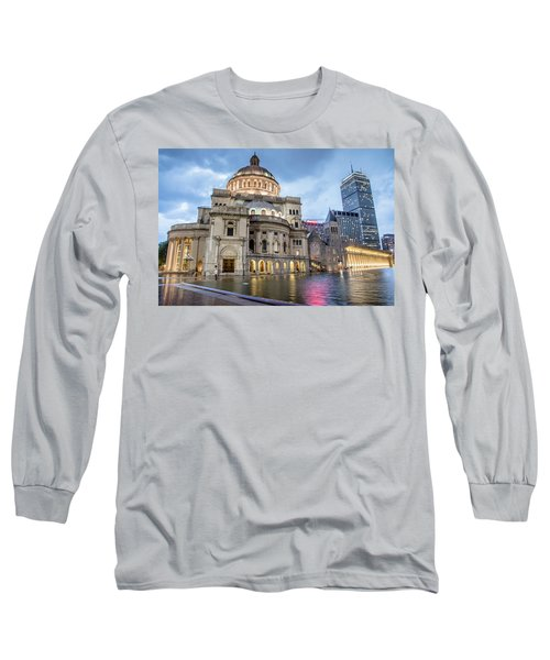 Christian Science Center In Boston Long Sleeve T-Shirt by Peter Ciro
