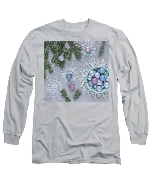 Long Sleeve T-Shirt featuring the photograph Christmas Baubles And Snowflakes by Kim Hojnacki