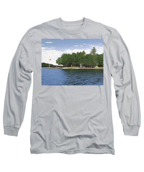 Long Sleeve T-Shirt featuring the painting Christmas Island Muskoka by Kenneth M Kirsch