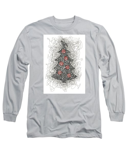 Christmas Tree Pen And Ink Drawing Long Sleeve T-Shirt