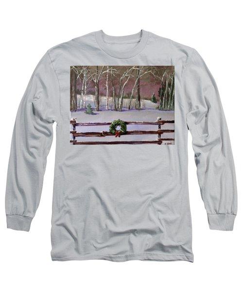 Christmas Wreath On Fence  Long Sleeve T-Shirt
