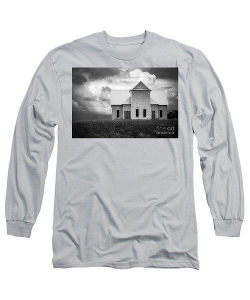 Church On Hill In Bw Long Sleeve T-Shirt