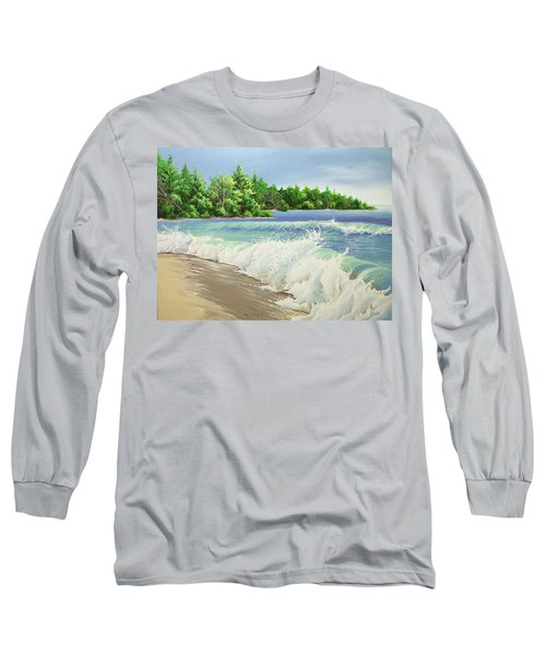 Long Sleeve T-Shirt featuring the painting Churning Sand  by William Love