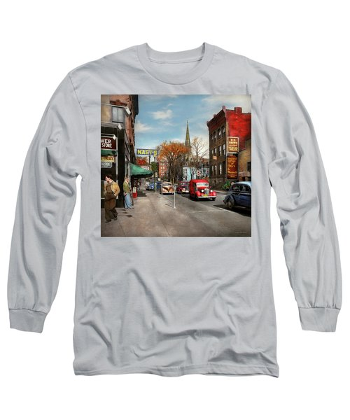 Long Sleeve T-Shirt featuring the photograph City - Amsterdam Ny - Downtown Amsterdam 1941 by Mike Savad