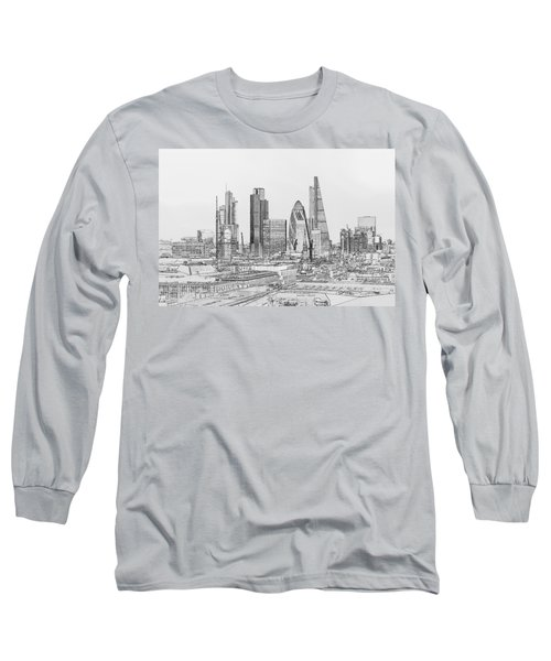 City Of London Outline Poster Bw Long Sleeve T-Shirt