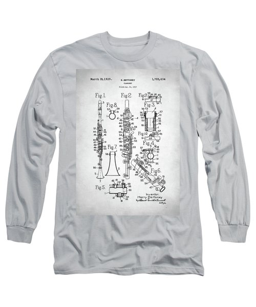 Long Sleeve T-Shirt featuring the digital art Clarinet Patent by Taylan Apukovska