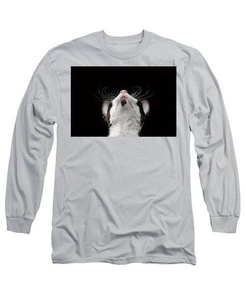 Closeup Portrait Of Cornish Rex Looking Up Isolated On Black  Long Sleeve T-Shirt