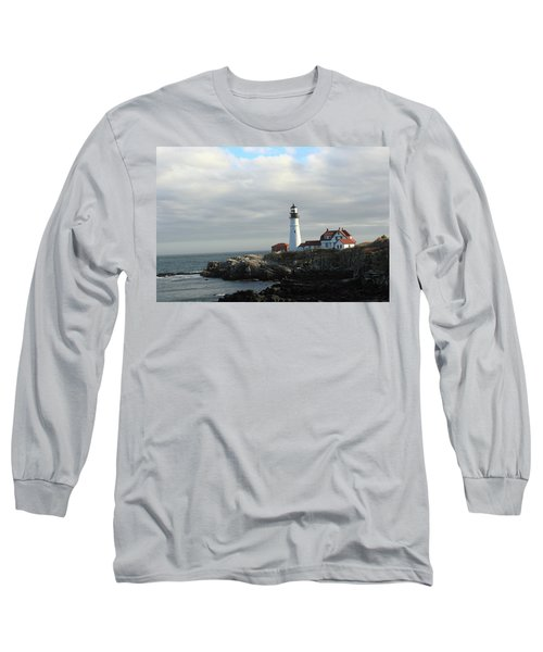 Clouds Over Portland Head Lighthouse 2 Long Sleeve T-Shirt