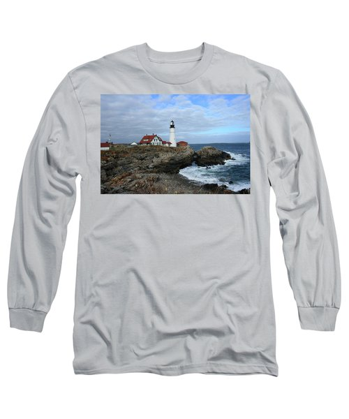 Clouds Over Portland Head Lighthouse Long Sleeve T-Shirt